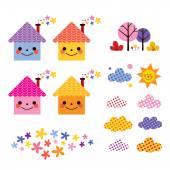 Cute houses kids design elements — Stock Vector