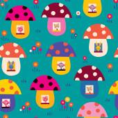Cute animals in mushroom houses — Stock Vector