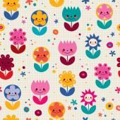 Happy cartoon flowers seamless pattern — Stock Vector