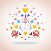 Flowers, hearts & birds illustration — Stock Vector