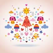 Mushrooms, flowers, hearts & birds illustration — Stock Vector