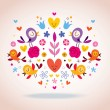 Hearts, birds and flowers vector illustration — Stock Vector #58873431