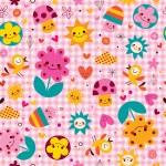 Cartoon mushrooms, flowers, hearts & birds — Stock Vector #58879975