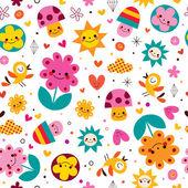 Mushrooms, flowers, birds seamless pattern — Stock Vector