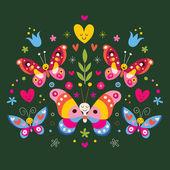 Butterflies folk art — Stock Vector