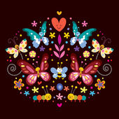 Butterflies, flowers nature vector illustration — Stock Vector