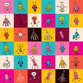 Cartoon robot characters pattern — Vettoriale Stock