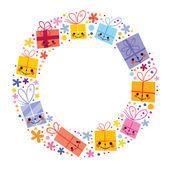 Gifts present boxes holiday circle — Stock Vector