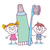 Dental Hygiene kids with toothbrush — Stock Vector