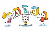 ABC letters kids education — Stock Vector