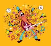 Rock guitarist cartoon illustration — Stock Vector