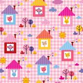 Cute baby animals in houses — Stock Vector