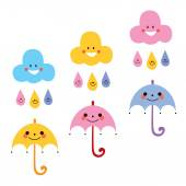 Cute umbrellas, raindrops, clouds — Vecteur