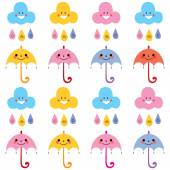 Cute umbrellas, raindrops, clouds — Stok Vektör
