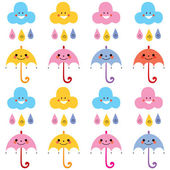 Cute umbrellas, raindrops, clouds — 图库矢量图片