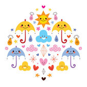 Cute umbrellas, raindrops, flowers, clouds — Stock Vector