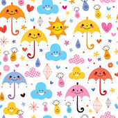 Cute umbrellas, raindrops and flowers — Stock Vector