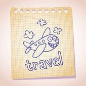 Cartoon airplane sketch doodle — Stock Vector