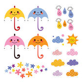 Cute umbrellas and raindrops — Stock Vector