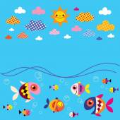 Fish, sea, clouds and sun — Stock Vector