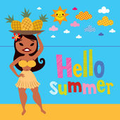 Hello summer hula girl with pineapples — Stock Vector