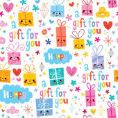 Gift wrapping cartoon seamless pattern — Stock Vector