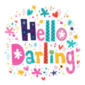 Hello darling card — Stock Vector