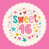 Sweet Sixteen card — Stock Vector