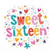 Sweet Sixteen card — Stock Vector