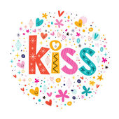 Kiss retro typography lettering text — Stock Vector
