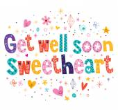 Get well soon sweetheart card — Stock Vector