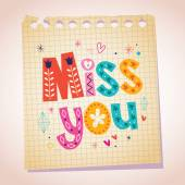 Miss you card — Stock Vector