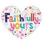 Faithfully yours heart shaped card — Stock Vector