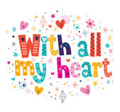 With all my heart card — Stock Vector