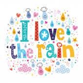 I love the rain card — Stock Vector