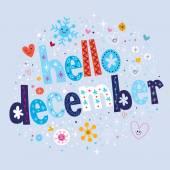 Hello December card — Stock Vector