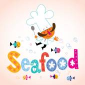 Seafood type with chef character — Stock Vector