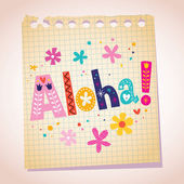 Aloha note pad paper — Vettoriale Stock