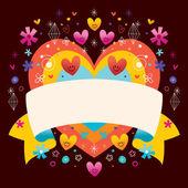 Corazón con cinta en blanco — Vector de stock