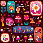 Söt karaktär mönster — Stockvektor