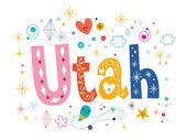 Utah decorative type lettering — Stock Vector