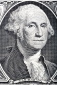 Portrait of president George Washington on one dollar one dollar — Stock Photo