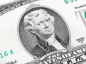 Thomas Jefferson. Qualitative portrait from 2 lucky dollars bill — Stock Photo