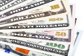 Banknotes of United States of America - dollars - ona one heap.  — Stock Photo