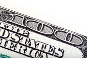 Details of one hundred dollar, close-up shot. — Stockfoto