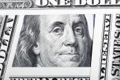 Benjamin Franklin on the one hundred dollar bill framed by other — Stock Photo