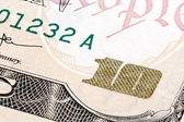 Detail of 10 dollars bill. Extreme macro shot. — Stock Photo