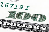 Background with old hundred dollar bill stacked shot. — Stock Photo
