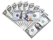 Banknote in hundred U.S. end one dollars bill, abstract backgrou — Foto de Stock
