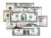 Close-up of all US Dollar banknotes isolated on white. — Stock Photo